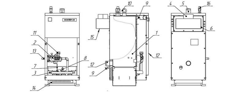 Схема котла Хопер-25 с САБК