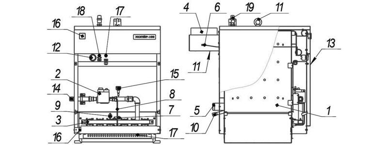 Схема котла Хопер-50 с Honeywell