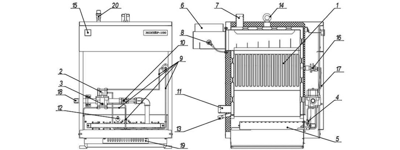 Схема котла Хопер-63 с РГУ