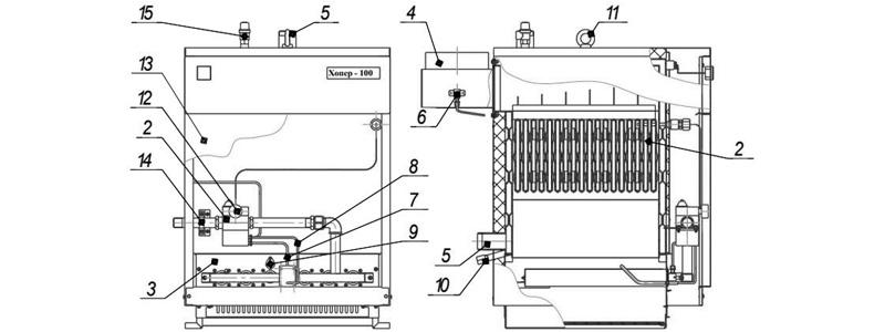 Схема котла Хопер-63 с САБК